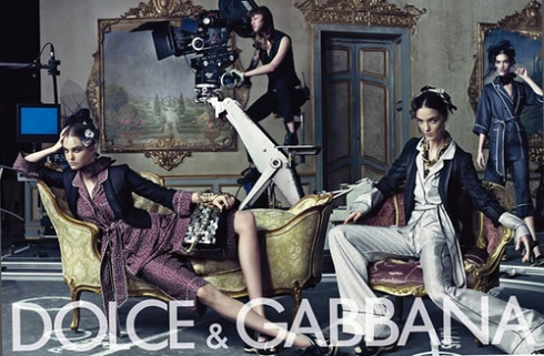 Caroline Trentini for Dolce & Gabbana SS 2009 with Karlie Kloss and Maria Carla Boscono