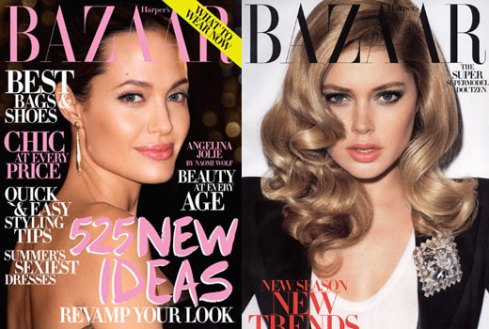 Angelina Jolie and Doutzen Kroes for Harpers Bazaar US July 2009