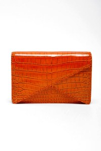 bottega veneta Rosewood shiny crocodile BV clutch.