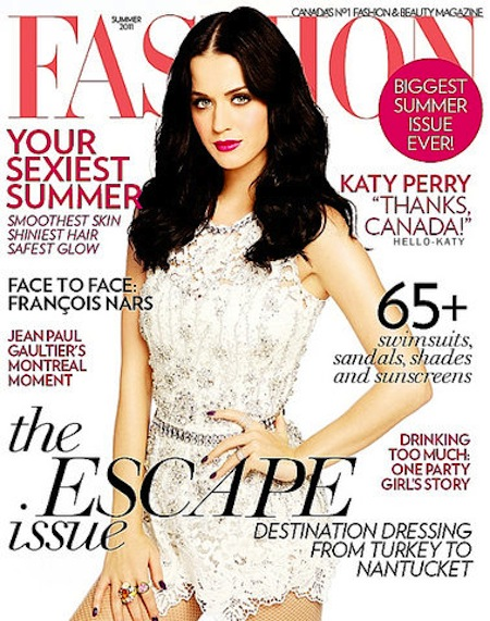 Fashion Magazines Look To Familiar Faces For Cover Models: Katy Perry For Fashion Magazine Canada Summer 2011
